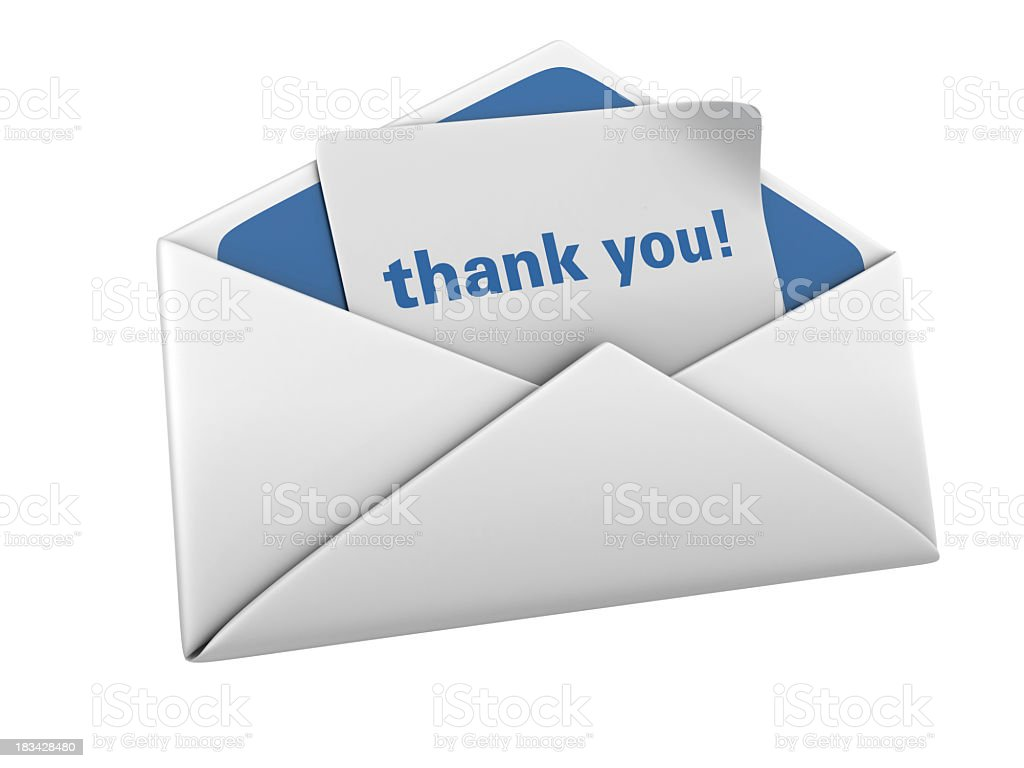 Envelope with Thank You Word royalty-free stock photo