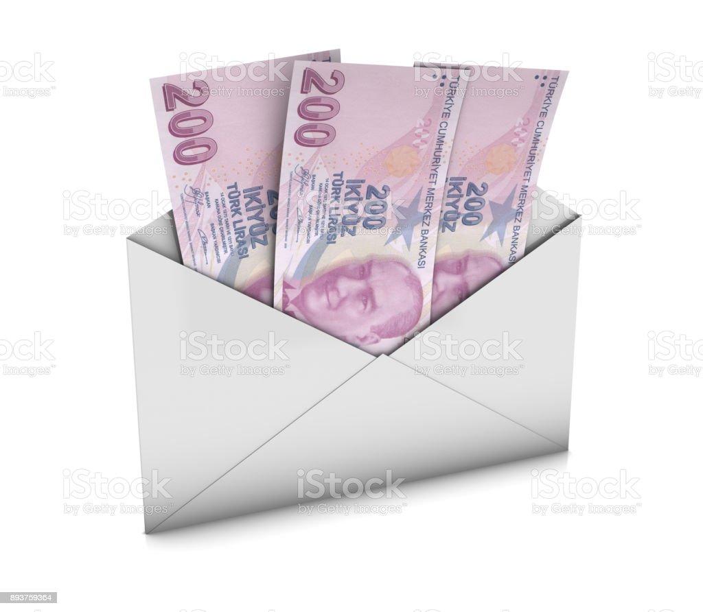 Envelope with Turkish Liras stock photo