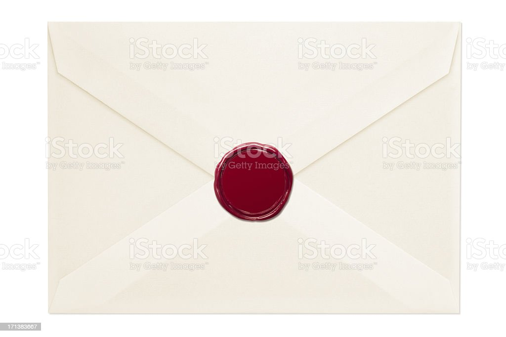 Envelope with Wax Seal stock photo