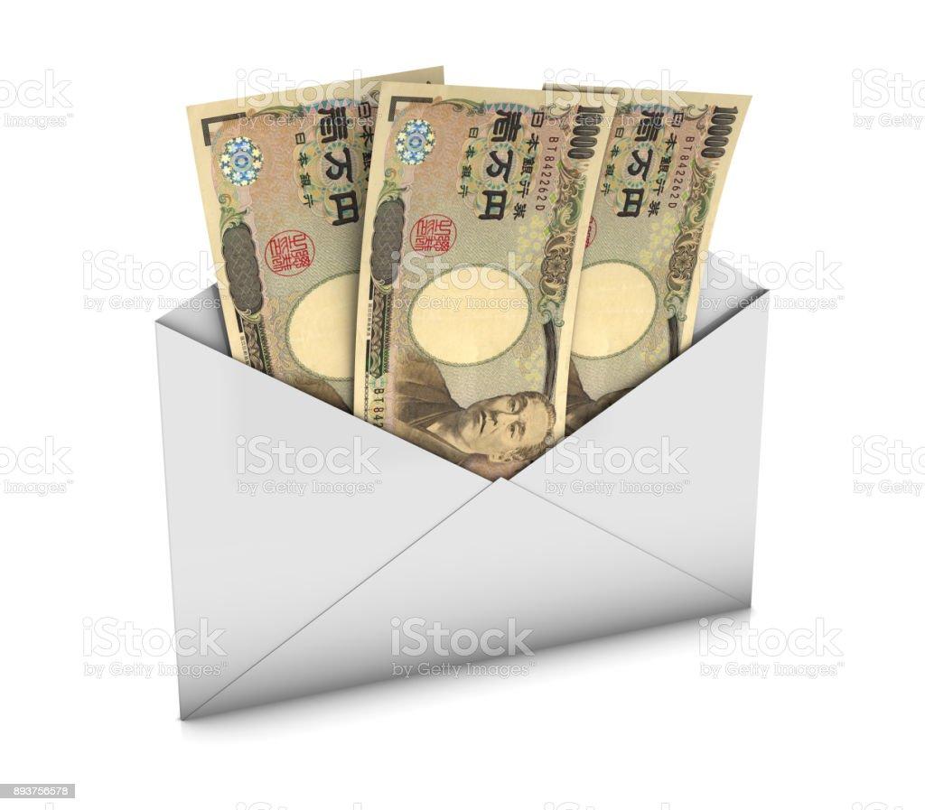 Envelope with Yens stock photo