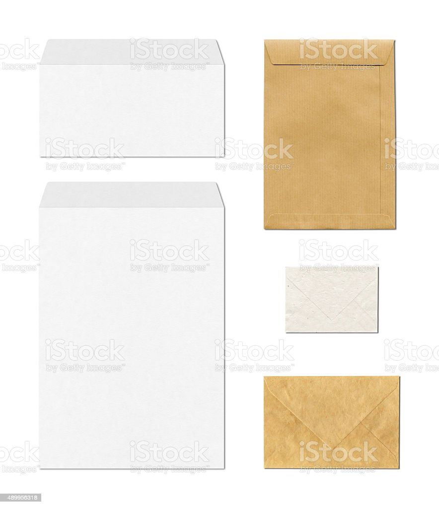 envelopes mockup template, white background stock photo