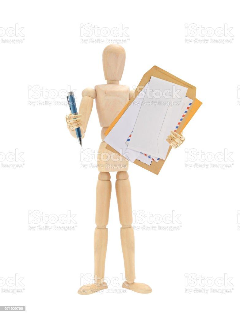 Envelopes Pen Wood Mannequin stock photo