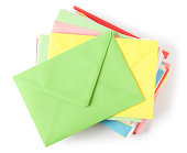 'Colorful envelopes on white. This file is cleaned, retouched and contains'