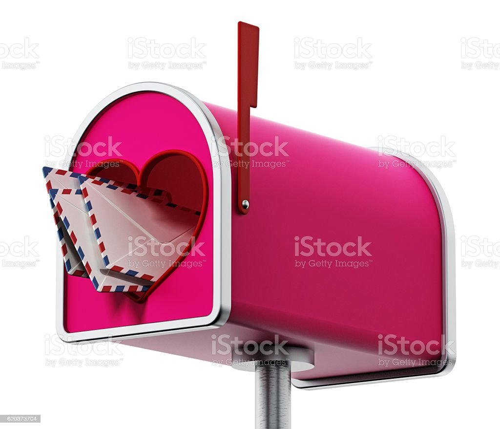 Enveloppes inside pink mailbox with heart shaped door foto de stock royalty-free
