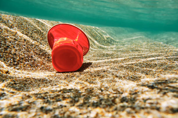 enviromental issues, red plastic used disposable plastic cup in the sea. - trash stock photos and pictures