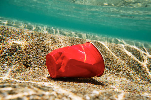 enviromental issues, red plastic used disposable plastic cup in the sea. - trash stock pictures, royalty-free photos & images