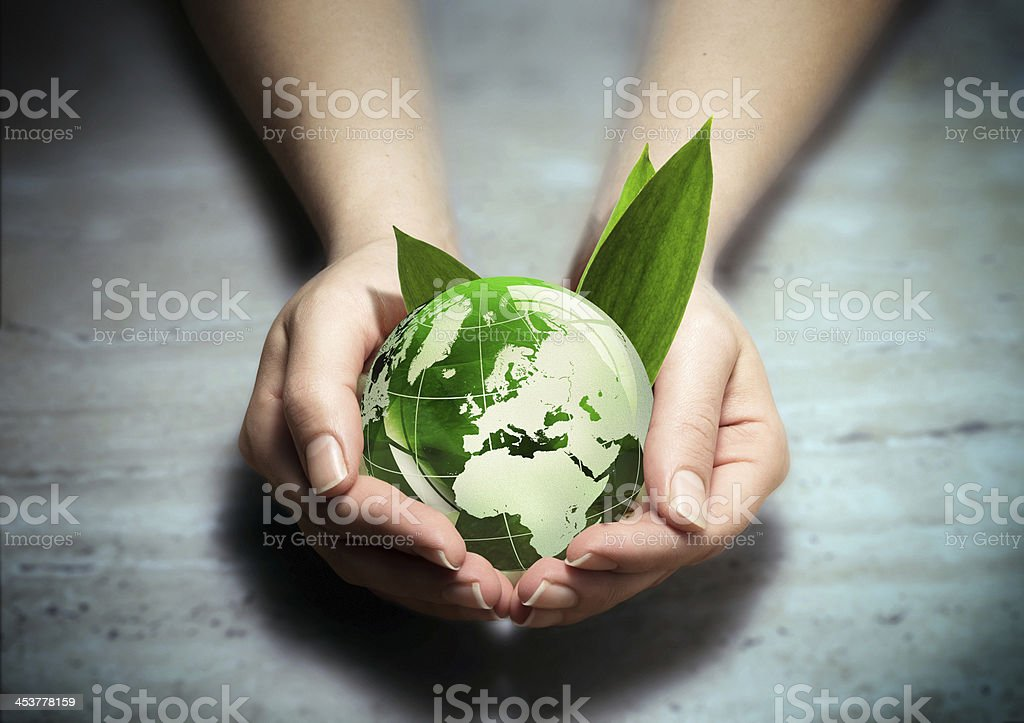 environment conservation concept - Europe planet in your hands - Europe Beginnings Stock Photo