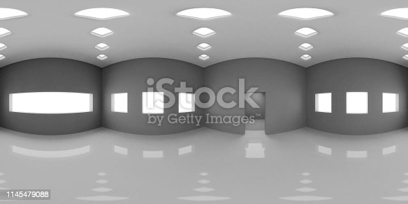 istock HDRI environment map, 360 degree image, abstract spherical panorama background, interior light source render in grey scales (3d illustration) 1145479088