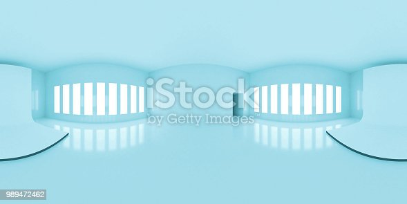 istock HDRI environment map, abstract blue spherical panorama background, interior with stage, white light source rendering (3d illustration) 989472462