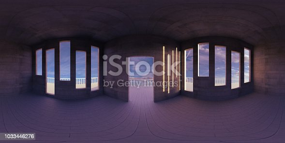 istock HDRI environment map, abstract spherical panorama background, empty room, with beautiful view (3d equirectangular rendering) 1033446276
