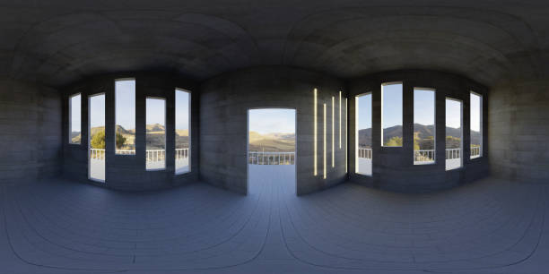HDRI environment map, abstract spherical panorama background, empty apartment, with beautiful view (3d equirectangular render) 360 degree lighting backdrop texture high dynamic range imaging stock pictures, royalty-free photos & images