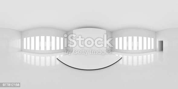 istock HDRI environment map, abstract spherical panorama background, interior with stage, white light source rendering (3d illustration) 977812158