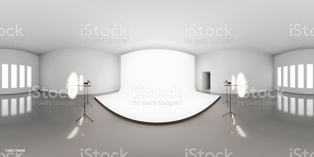 Carte d'environnement HDRI, fond Abstrait photographie panoramique avec photo studio setup (3d render équirectangulaire) - Photo