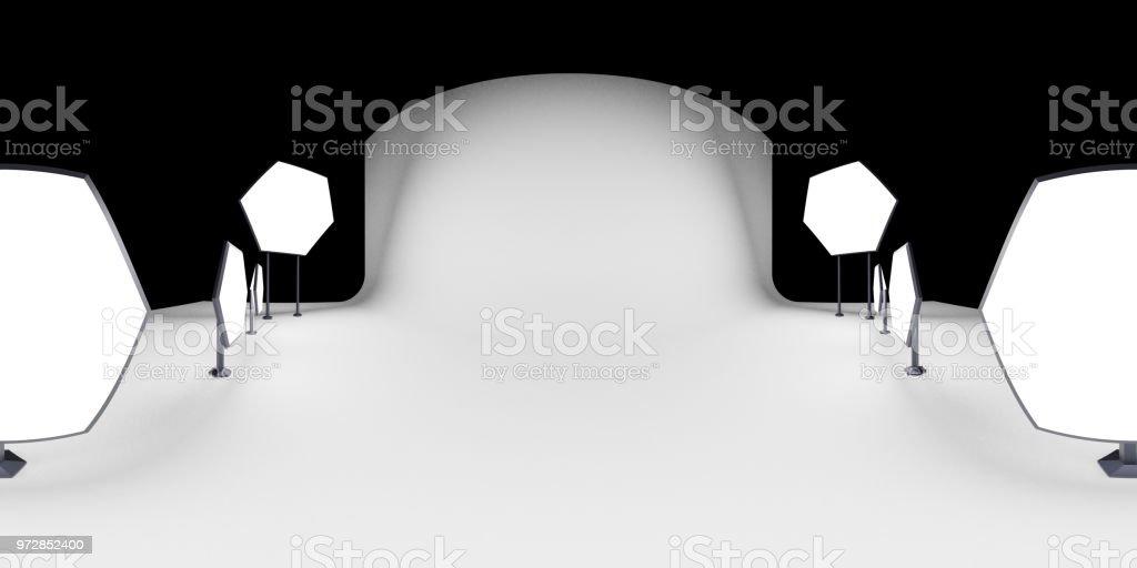 Carte d'environnement HDRI, fond Abstrait photographie panoramique avec photo studio setup (3d équirectangulaire illustration) - Photo