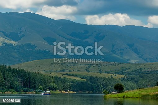 istock Environment of the dam, reservoir or barrage   Dushantsi at river Topolnitsa with passenger-ship,  Central Balkan mountain, Stara Planina 820965406