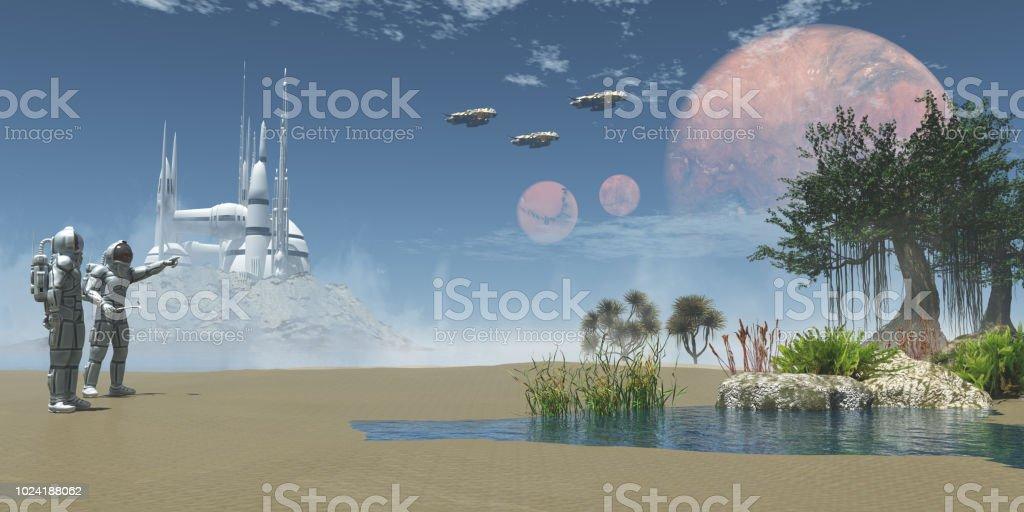 Environment on Exoplanet stock photo