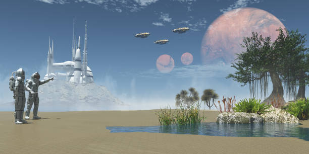 Environment on Exoplanet stock photo
