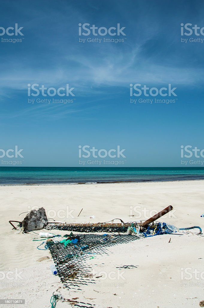 Environment pollution at the beach royalty-free stock photo