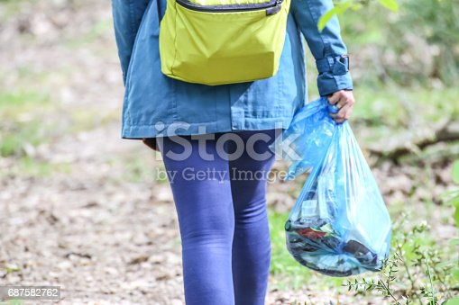 istock Environmental activist collecting plastic garbages in nature 687582762
