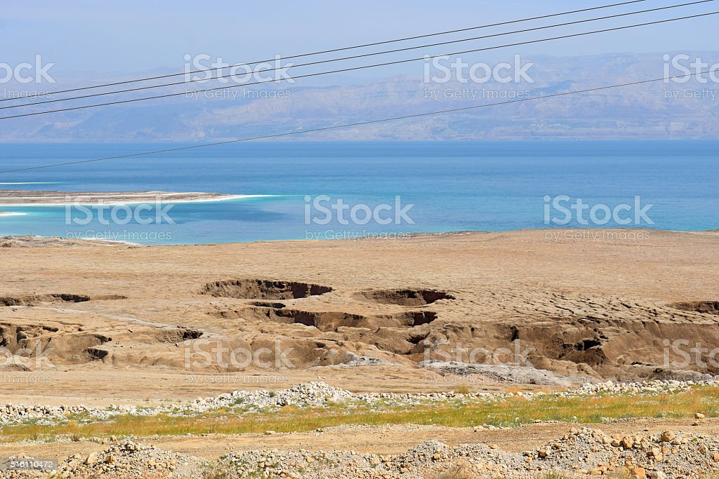 environmental catastrophe on the Dead Sea, Israel stock photo