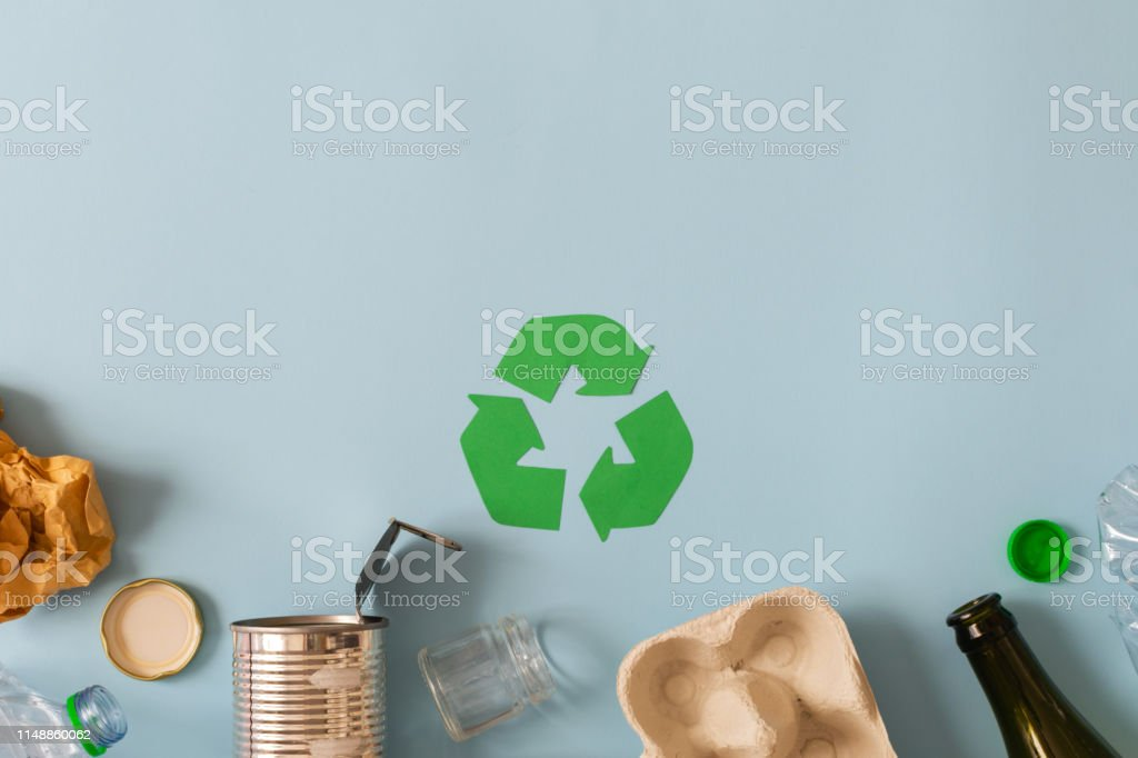 Environmental conservation concept - garbage prepared for recycling,...