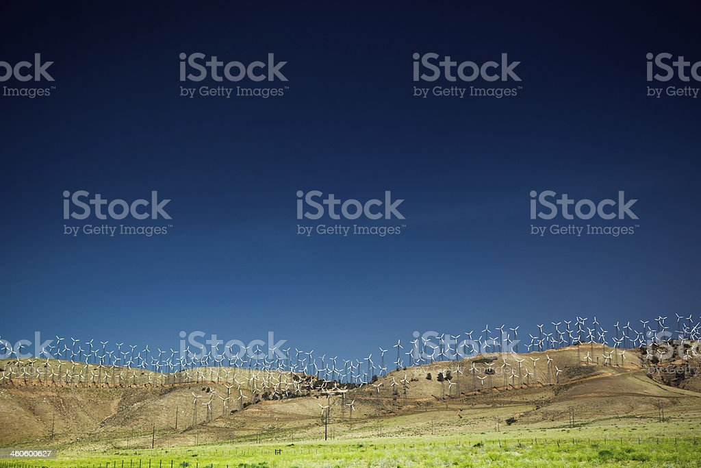 Environmental Conservation Wind Turbines with Copy Space stock photo
