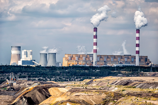 Environmental Degradation In Coalfired Power Station In Belchatow Poland Stock Photo - Download Image Now
