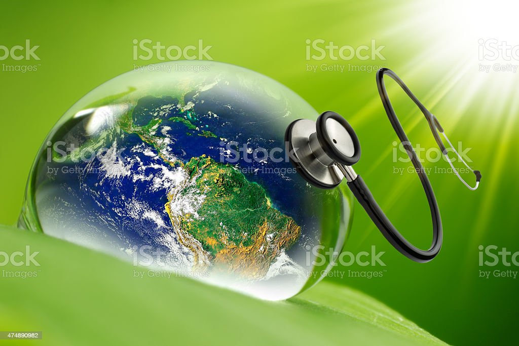 rain Droplets & Stethoscope, \'Elements of earth image courtesy NASA\'...