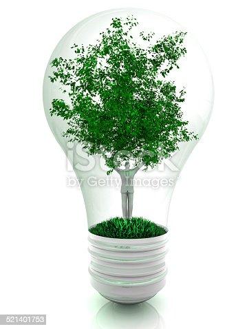 Lighting bulb and human tree. Alternative energy.