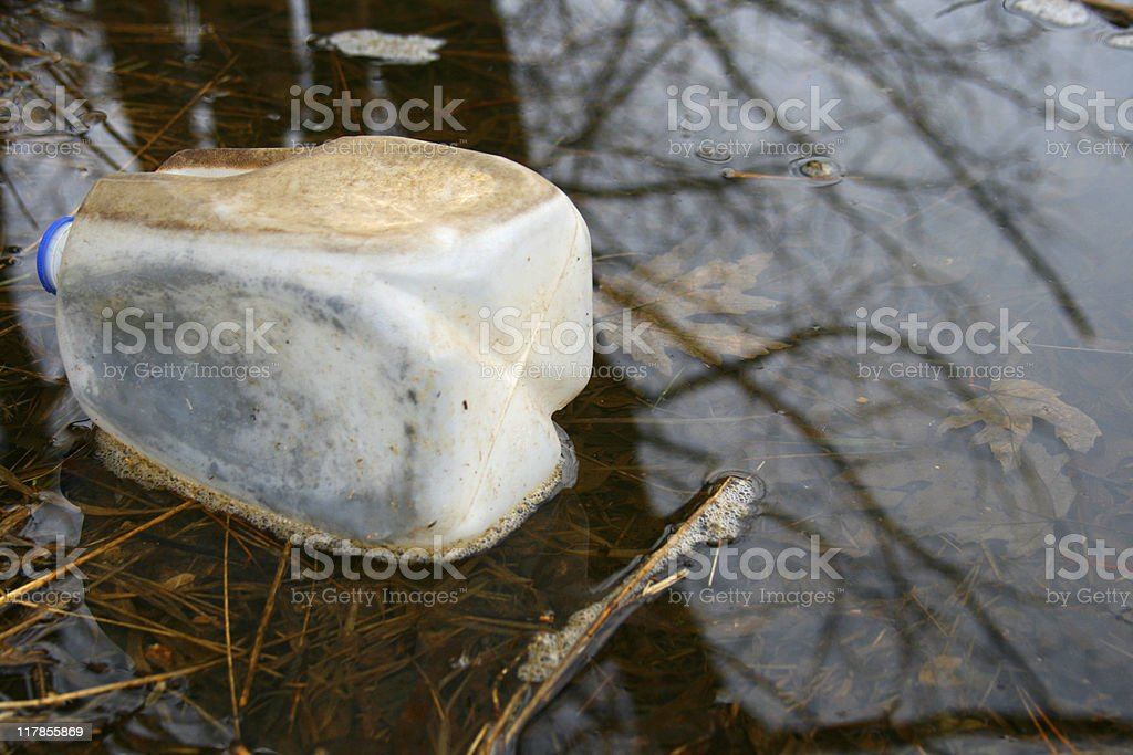 Environmental Issue Trash: Dirty Milk Carton in the Water stock photo
