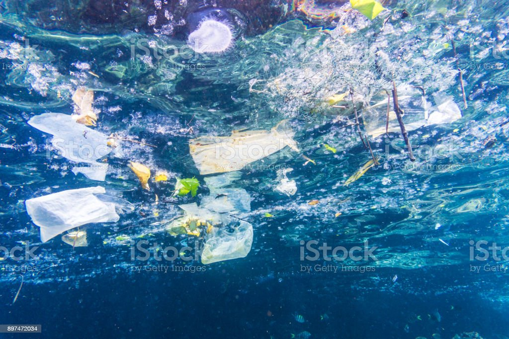 Environmental Issue: Underwater image of Plastic in the Ocean stock photo
