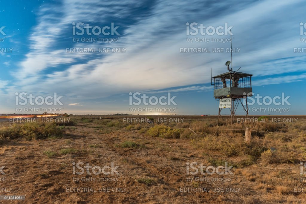 Environmental observer tower, Anti-dumping protest installation at the side of Port Wakefield Road near Dublin, South Australia. Lower Light, AUSTRALIA - Apr 01, 2018: Environmental observer tower, Anti-dumping protest installation at the side of Port Wakefield Road near Dublin, South Australia. Alertness Stock Photo