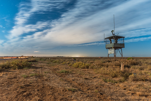Environmental Observer Tower Antidumping Protest Installation At The Side Of Port Wakefield Road Near Dublin South Australia Stock Photo - Download Image Now