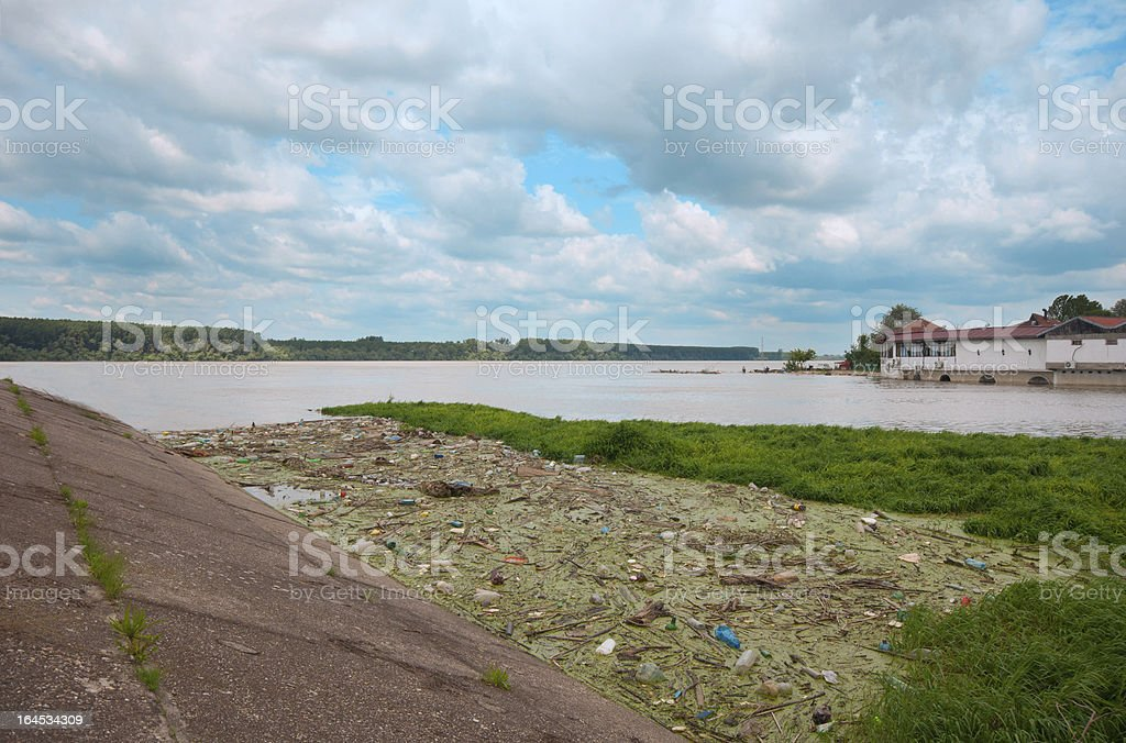 Environmental pollution on the river royalty-free stock photo