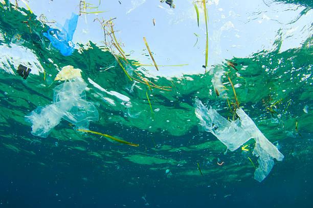 problema ambientale: sacchetti di plastica in oceano - biodegradabile foto e immagini stock