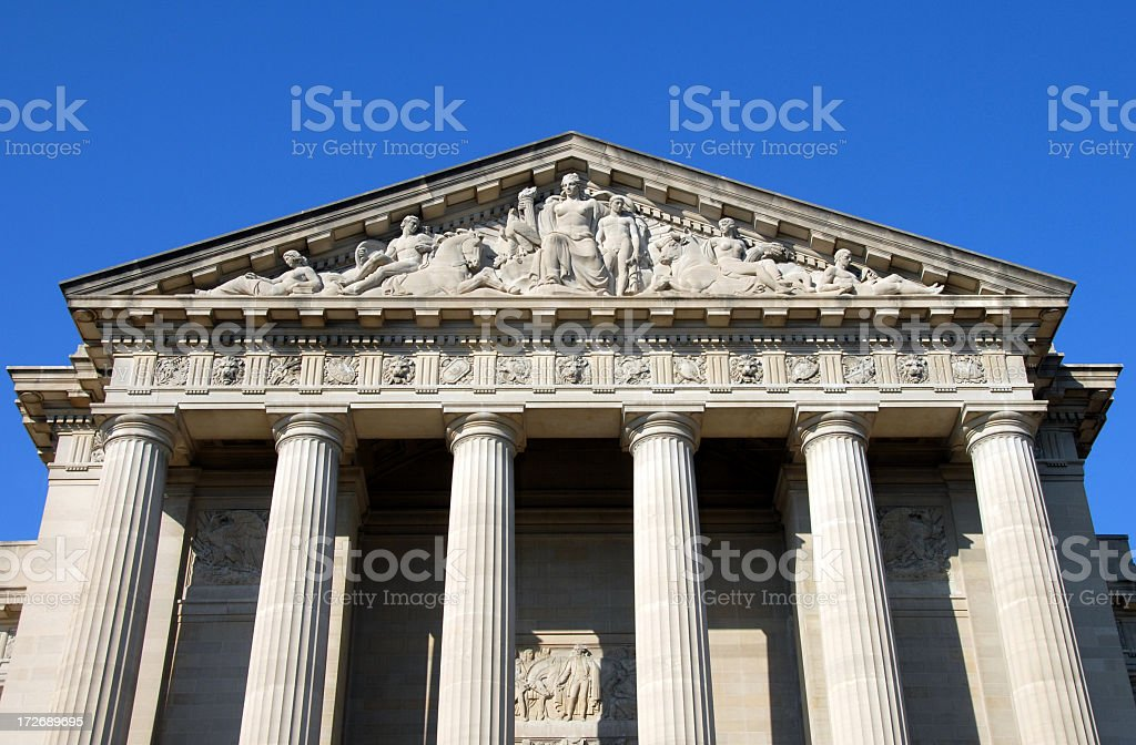 Environmental Protection Agency Building The EPA building in Washington DC. The Environmental Protection Agency is responsible for environmental policy and enforcement in the United States. The building features doric style columns made of limestone. Architectural Column Stock Photo