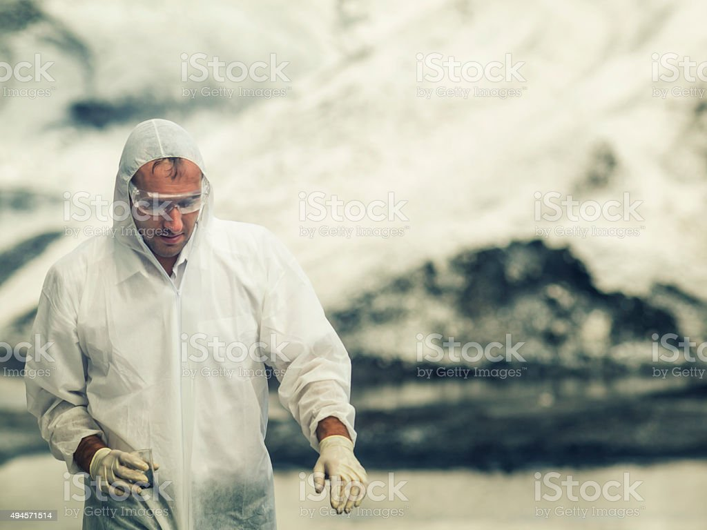 Environmental researcher at work stock photo