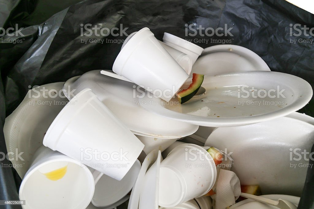 Environmental unfriendly disposed styrofoam plates and cups stock photo