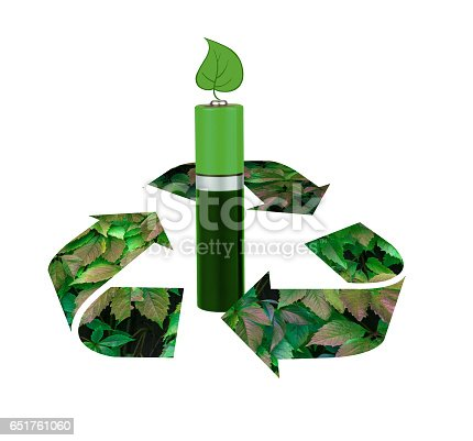 istock Environmental-friendly energy sources, batteries, on a white background, with green leaves, isolated, montage 651761060