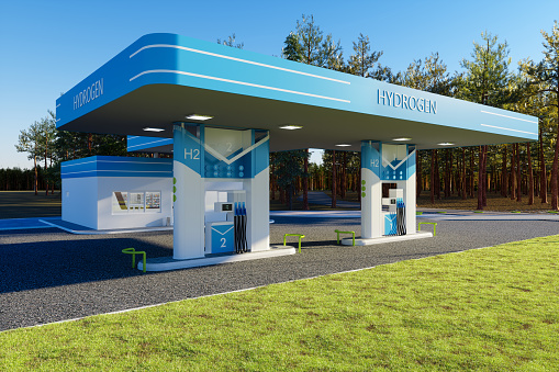 Environmentally Friendly Alternative Energy Concept With Hydrogen Refuelling Station.