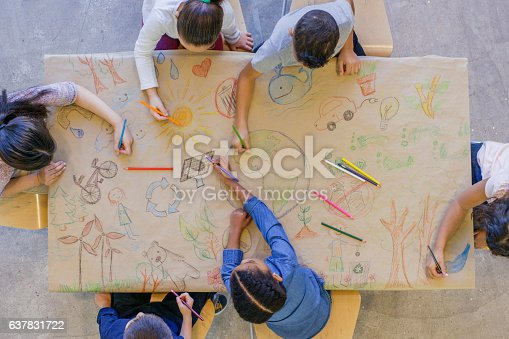 An aerial view of a multi ethnic group of children learn about going green and color in environmentally friendly concepts surrounding a drawing of Earth.