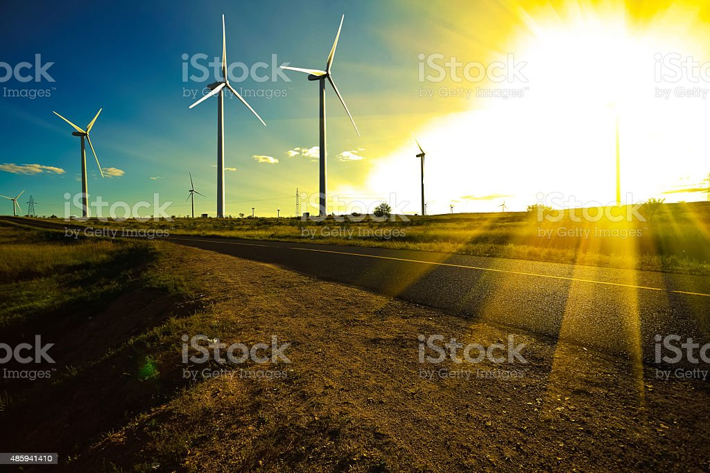 Environmentally friendly power generation wind power turbines stock photo