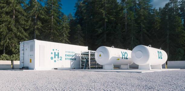 Umweltfreundliche Lösung der Speicherung erneuerbarer Energien - Wasserstoffgas zu sauberen Stromanlage in Waldumgebung. 3D-Rendering. – Foto