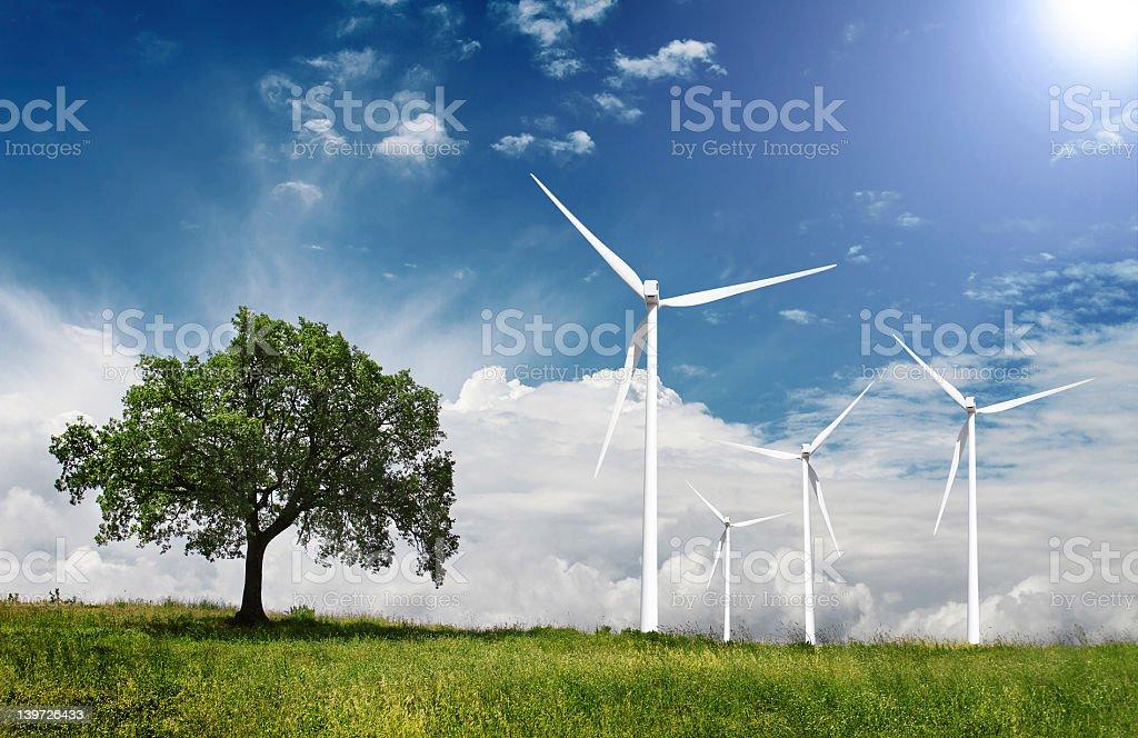 Eolic Power Generators on Blue Sky stock photo