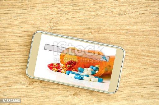 E-ordering and refill prescription online concept.