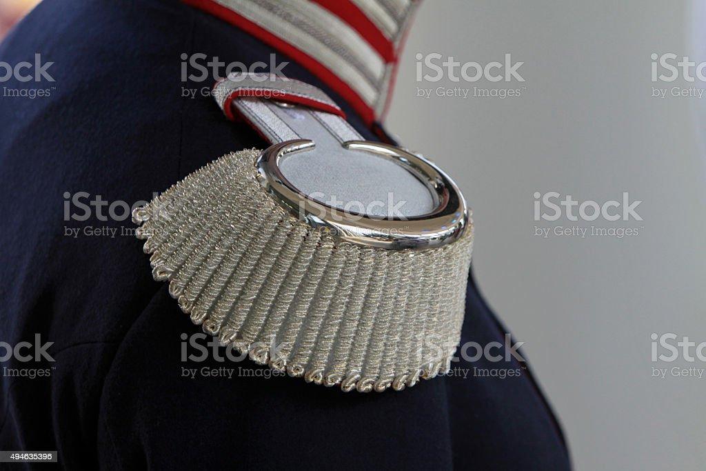 Epaulettes on a historical uniform stock photo