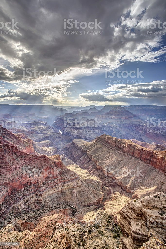 Ephemeral sunlight in the Grand Canyon stock photo