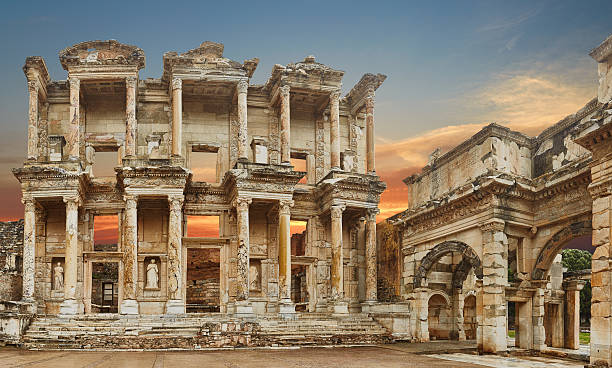 Ephesus - 38 Mpx- XXXL library building at Ephesus is an ancient Greek and Roman structure ancient greece stock pictures, royalty-free photos & images