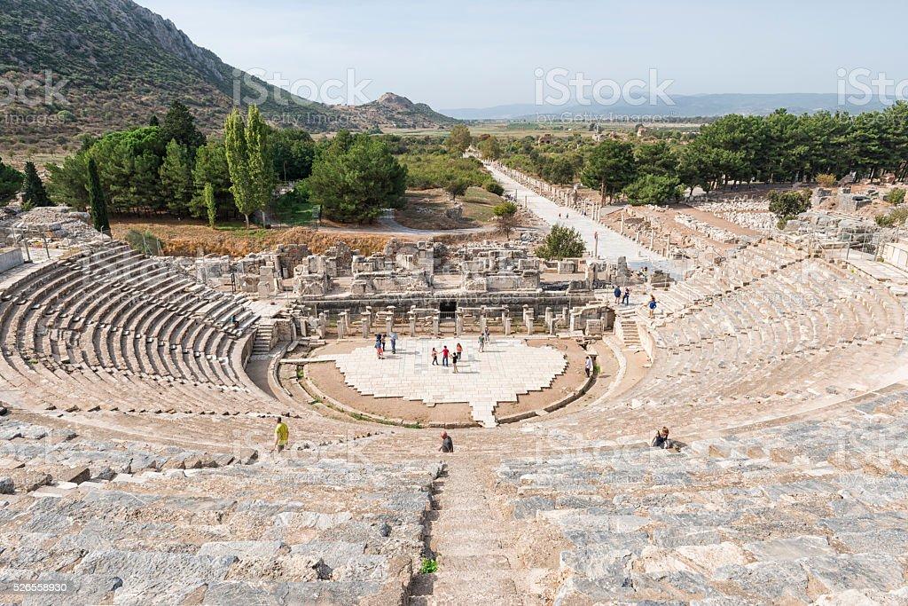Ephesus amphitheater in Turkey stock photo