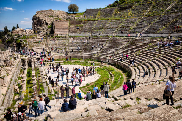 Ephesus amphitheater in Turkey Ephesus amphitheater in Turkey. Many tourists visiting this antique city all year round. ephesus stock pictures, royalty-free photos & images